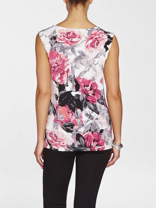 Floral Print Pleated Sleeveless Top, Orange, hi-res