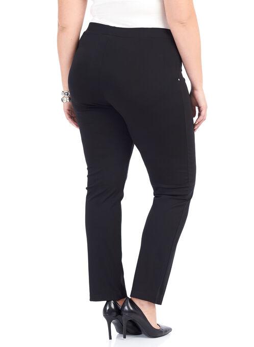 Ponte Straight Leg Pants, Black, hi-res