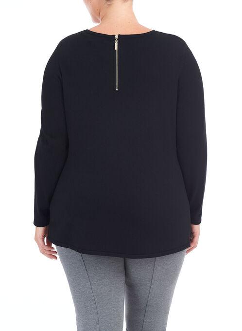 Long Sleeve Zipper Trim Sweater, Black, hi-res