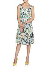 Printed Lace Dress with Bolero, Green, hi-res