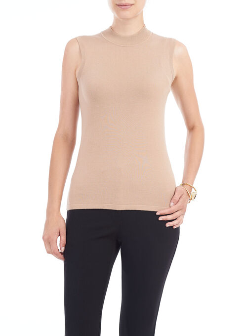 Sleeveless Knit Funnel Neck Top, Brown, hi-res