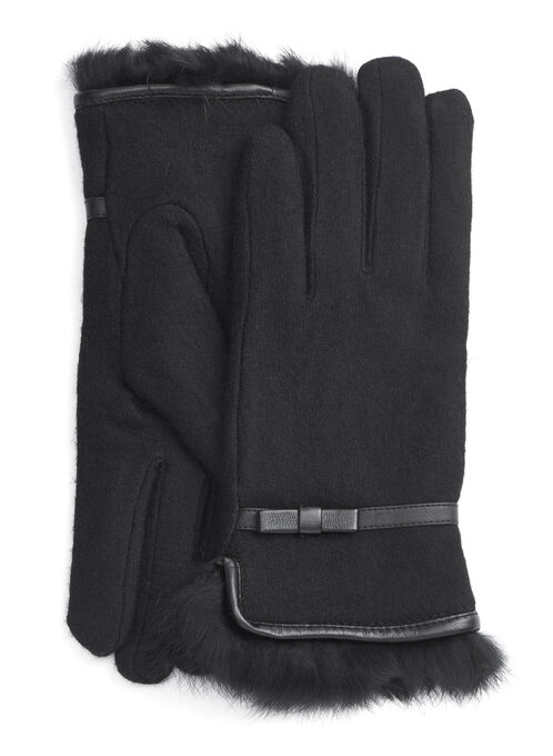 Wool & Fur Bow Detail Gloves , Black, hi-res