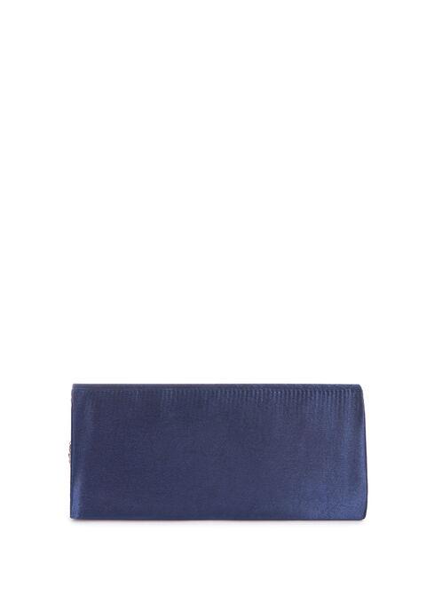 Pleated Jewelled Satin Clutch, Blue, hi-res