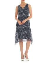 Embellished Neck Crinkle Mesh Dress, Blue, hi-res