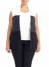Colour Block Double Knit Vest, Grey, hi-res