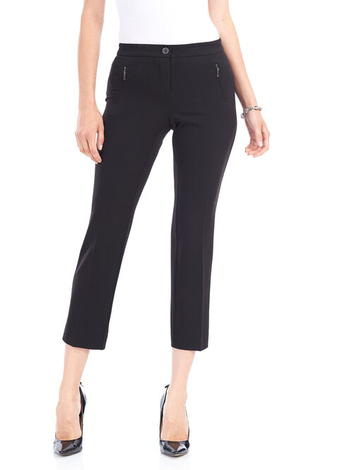 Straight Leg Zipper Trim Pants, Black, hi-res