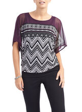 Short Sleeve Printed Blouson Top, Purple, hi-res