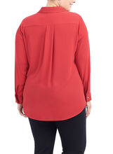 Long Sleeve Button Down Blouse, Red, hi-res