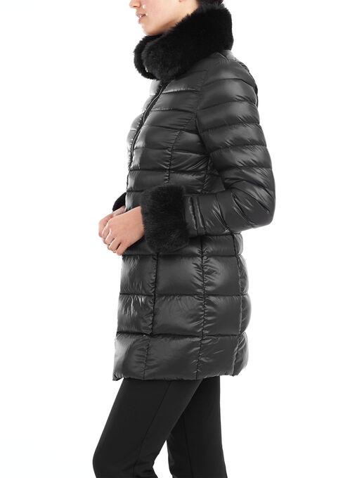 Lightweight Faux Fur Trim Down Coat, Black, hi-res
