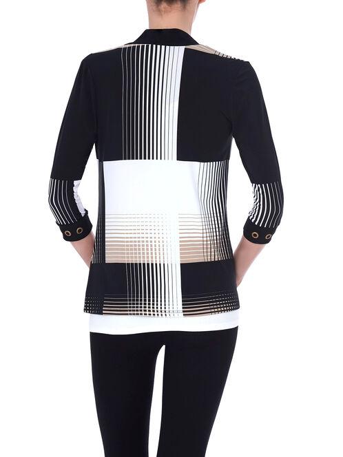 3/4 Sleeve Grid Print Cover-Up, Black, hi-res