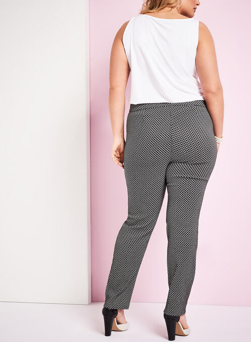 Jacquard Printed Straight Leg Pants , Black, hi-res
