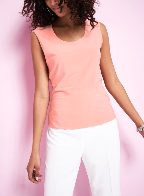 Sleeveless Jersey Tank Top, Pink, hi-res