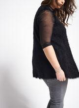 Sleeveless V-Neck Feather Yarn Vest, Black, hi-res
