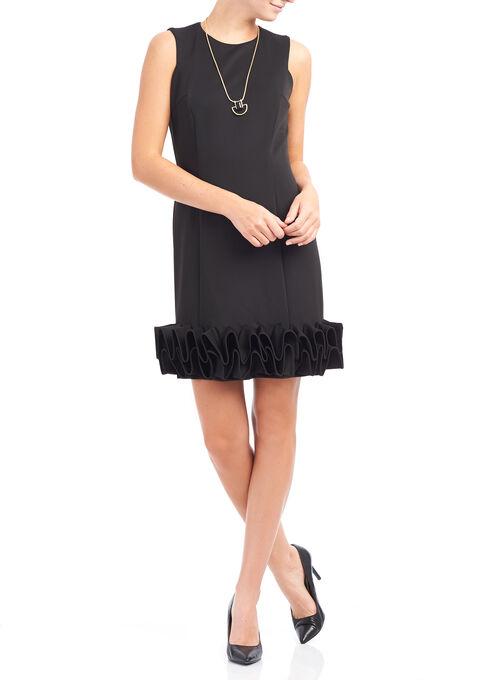 Sleeveless Ruffle Hem Dress, Black, hi-res