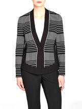 Striped & Contrast Trim Collarless Jacket, Black, hi-res