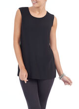 Sleeveless Textured Knit Top, Black, hi-res