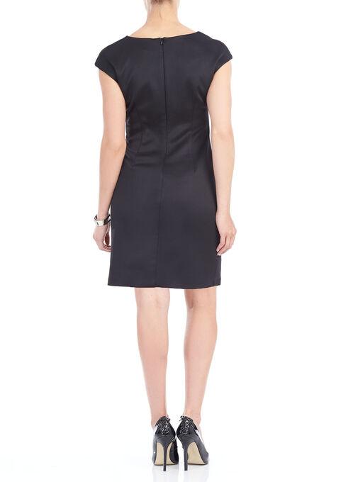 Scuba Wave Stripe Sheath Dress, Black, hi-res