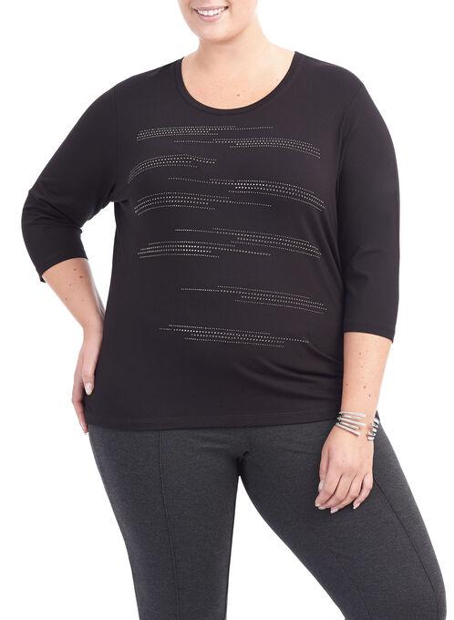 3/4 Sleeve Stud Trim Top, Black, hi-res