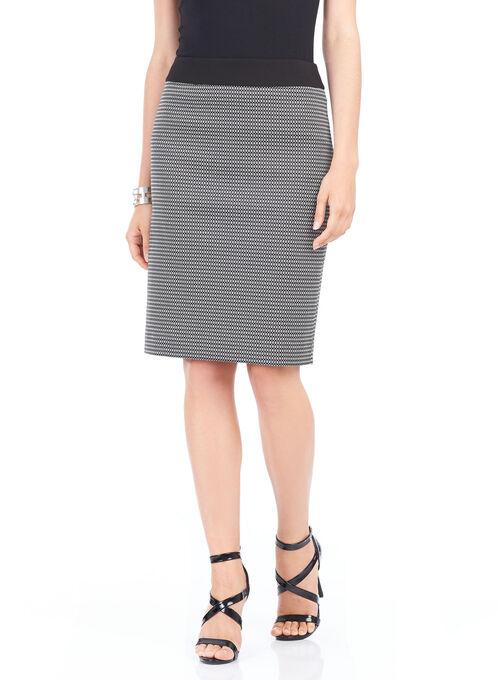 Square Print Knee-Length Skirt , Black, hi-res