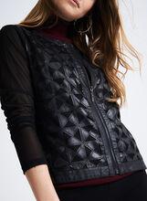 Faux Leather Mesh Detail Jacket , Black, hi-res