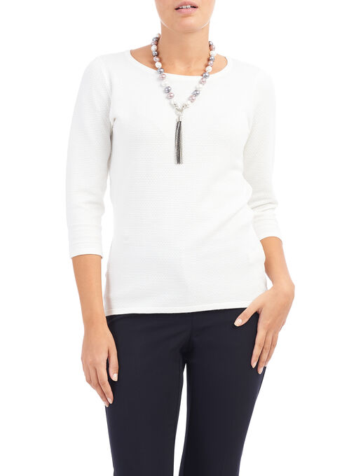 3/4 Sleeve Scoop Neck Knit Top, Off White, hi-res