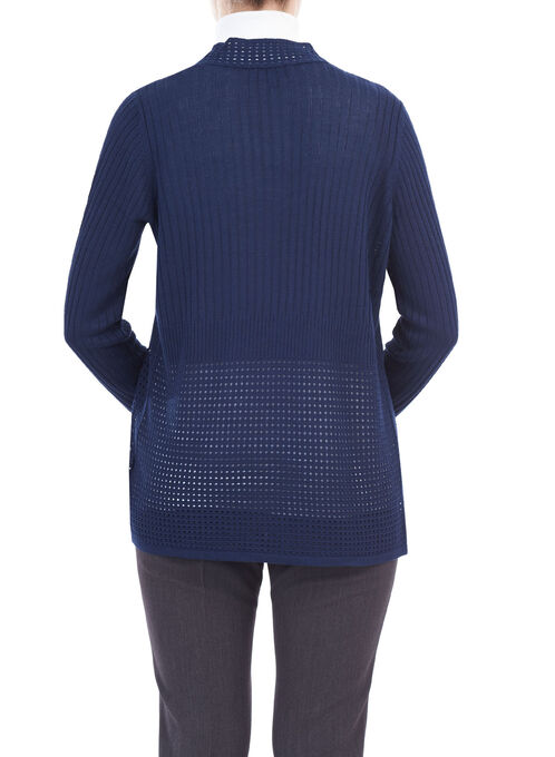 Long Sleeve Pointelle Knit Cardigan, Blue, hi-res