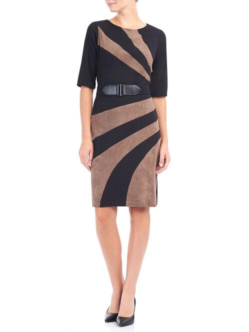 3/4 Sleeve Belted Faux Suede Dress, Brown, hi-res