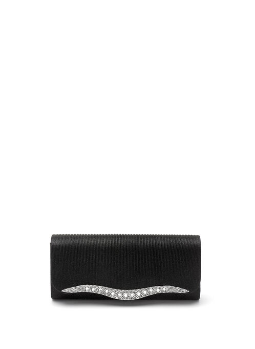 Glitter & Glam Crystal Clutch, Black, hi-res