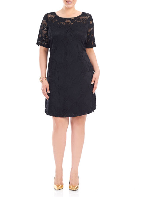 Lace Elbow Sleeve Dress, Black, hi-res