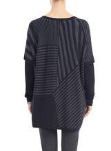 V-Neck Printed Knit Poncho, Grey, hi-res