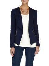 Knit Zipper Trim Jacket, Blue, hi-res