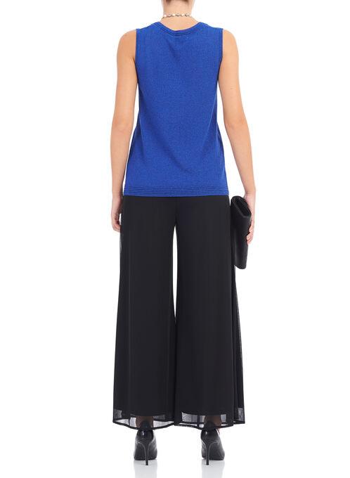 Lurex Knit Sleeveless Top, Blue, hi-res