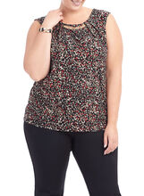 Sleeveless Printed Metal Trim Top , Red, hi-res