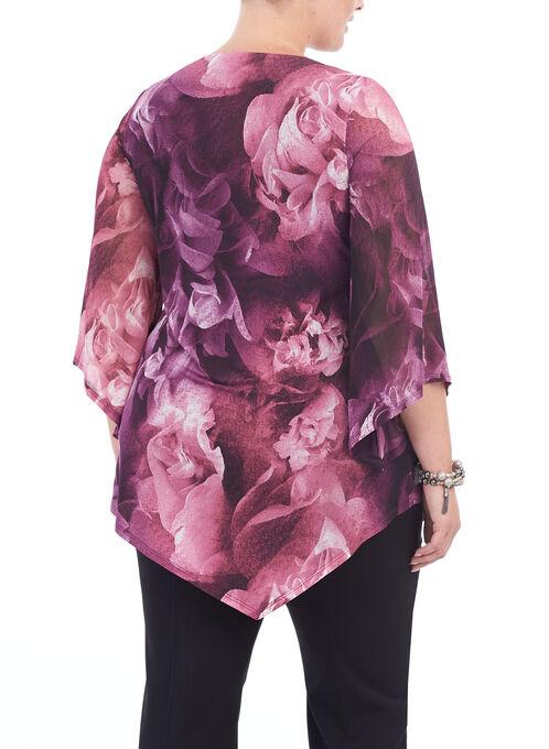 Floral Print Mesh Tunic Top, Red, hi-res