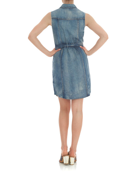 Button-Front Denim Dress, Blue, hi-res