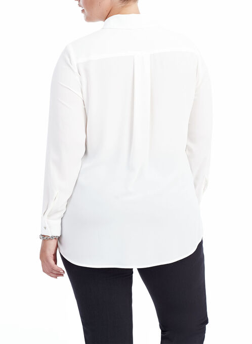 Long Sleeve Button Down Blouse , Off White, hi-res