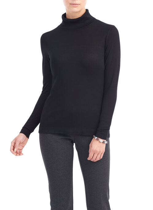 Long Sleeve Turtle Neck Sweater, Black, hi-res