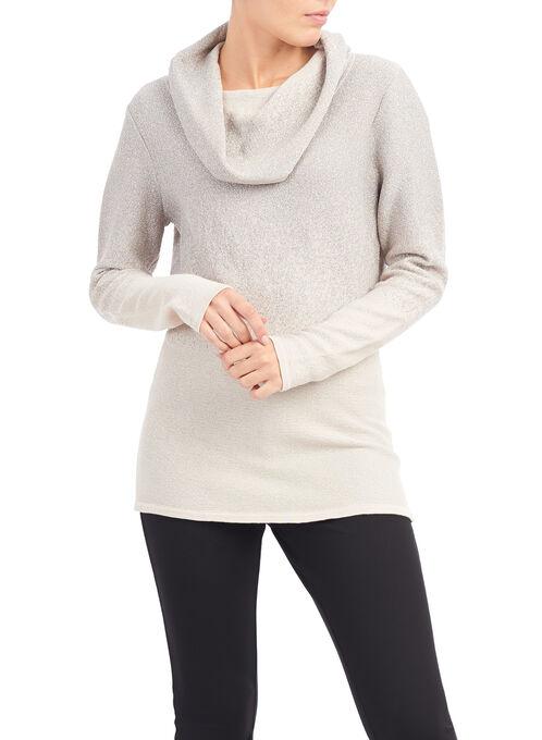 Lurex Jacquard Tunic Sweater, Yellow, hi-res