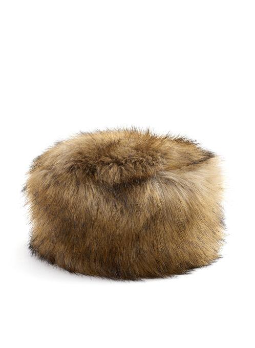 Faux Fur Hat , Brown, hi-res