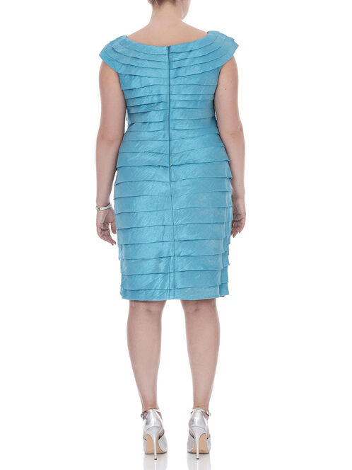 Short Sleeve Tiered Pearl Trim Dress, Blue, hi-res