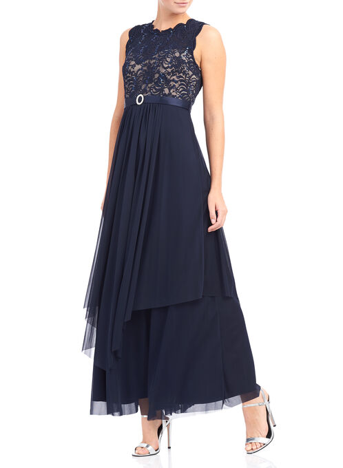 Sleeveless Sequined Lace Dress, Blue, hi-res