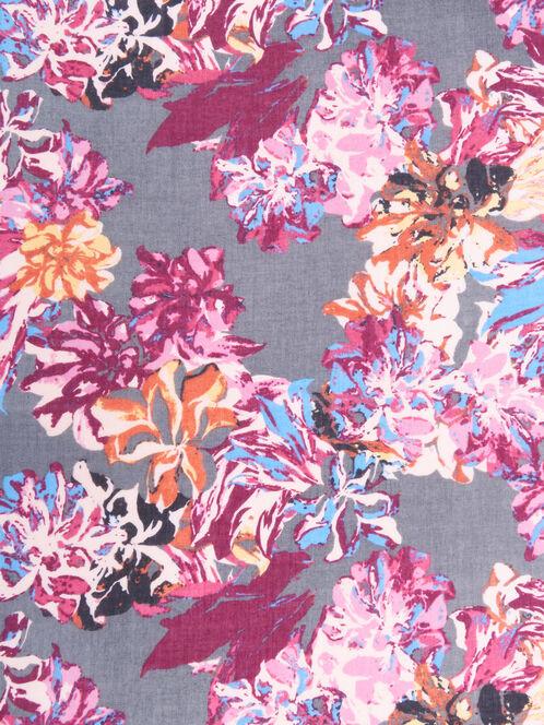 Floral Print Oblong Scarf, Red, hi-res