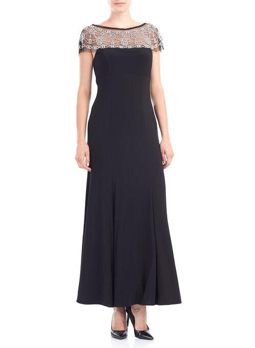 Jersey Mesh Beaded Neck Gown , Black, hi-res