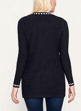 Knit Printed Tunic Cardigan, Black, hi-res