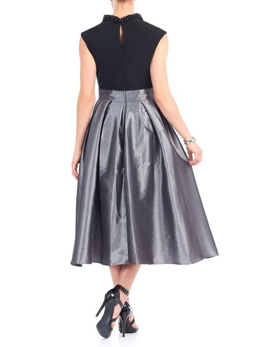 Beaded Mock Neck High-Low Dress, Black, hi-res