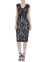 Sleeveless Lace V-Neck Dress, Black, hi-res