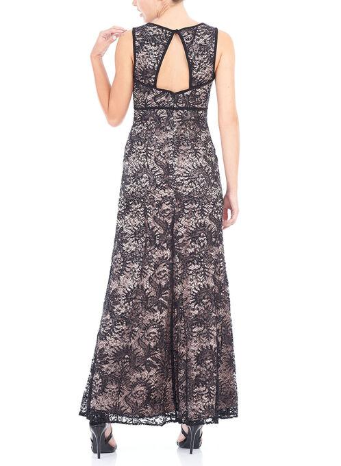 Sequined Open Back Gown , Black, hi-res