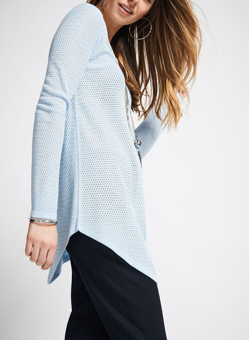 V-Neck Mitered Sweater, Blue, hi-res
