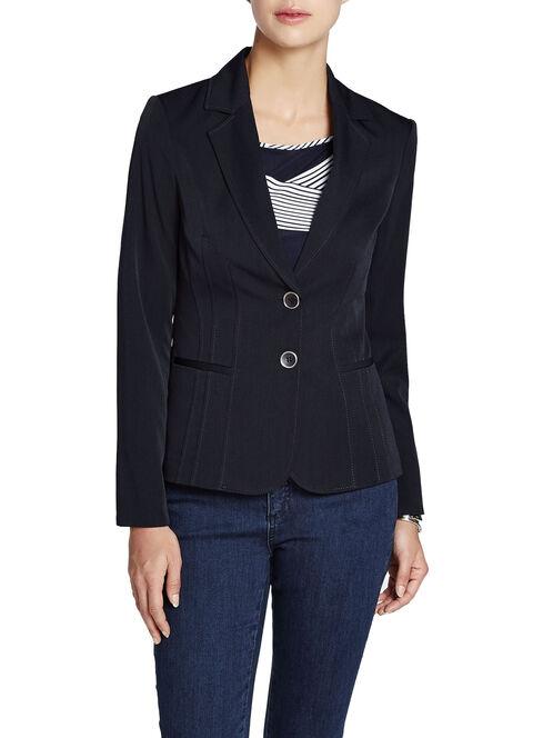 Seam Trim Belted Jacket, Blue, hi-res