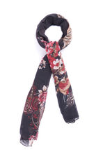 Rose & Paisley Print Oblong Scarf , Red, hi-res